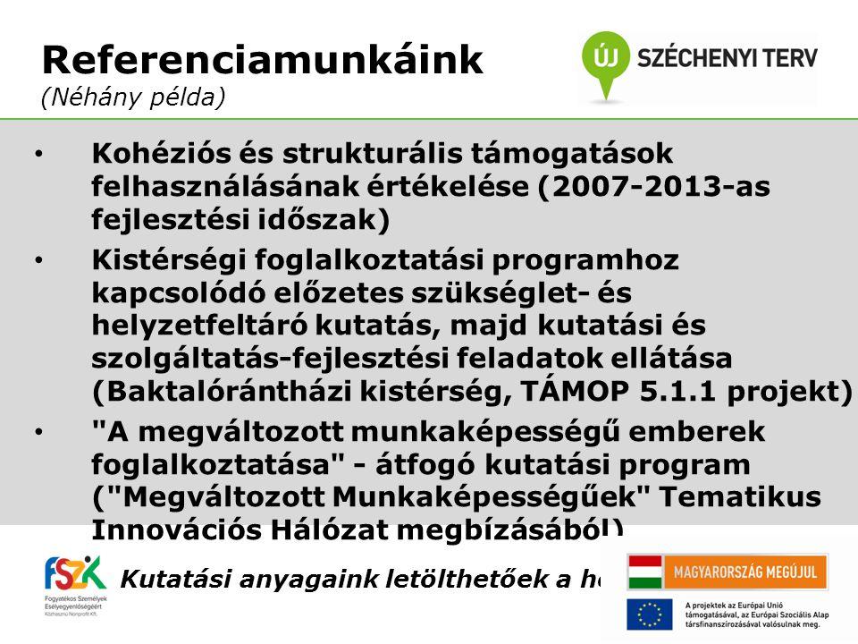 Kohéziós és strukturális támogatások felhasználásának értékelése (2007-2013-as fejlesztési időszak) Kistérségi foglalkoztatási programhoz kapcsolódó előzetes szükséglet- és helyzetfeltáró kutatás, majd kutatási és szolgáltatás-fejlesztési feladatok ellátása (Baktalórántházi kistérség, TÁMOP 5.1.1 projekt) A megváltozott munkaképességű emberek foglalkoztatása - átfogó kutatási program ( Megváltozott Munkaképességűek Tematikus Innovációs Hálózat megbízásából) Kutatási anyagaink letölthetőek a honlapunkról.