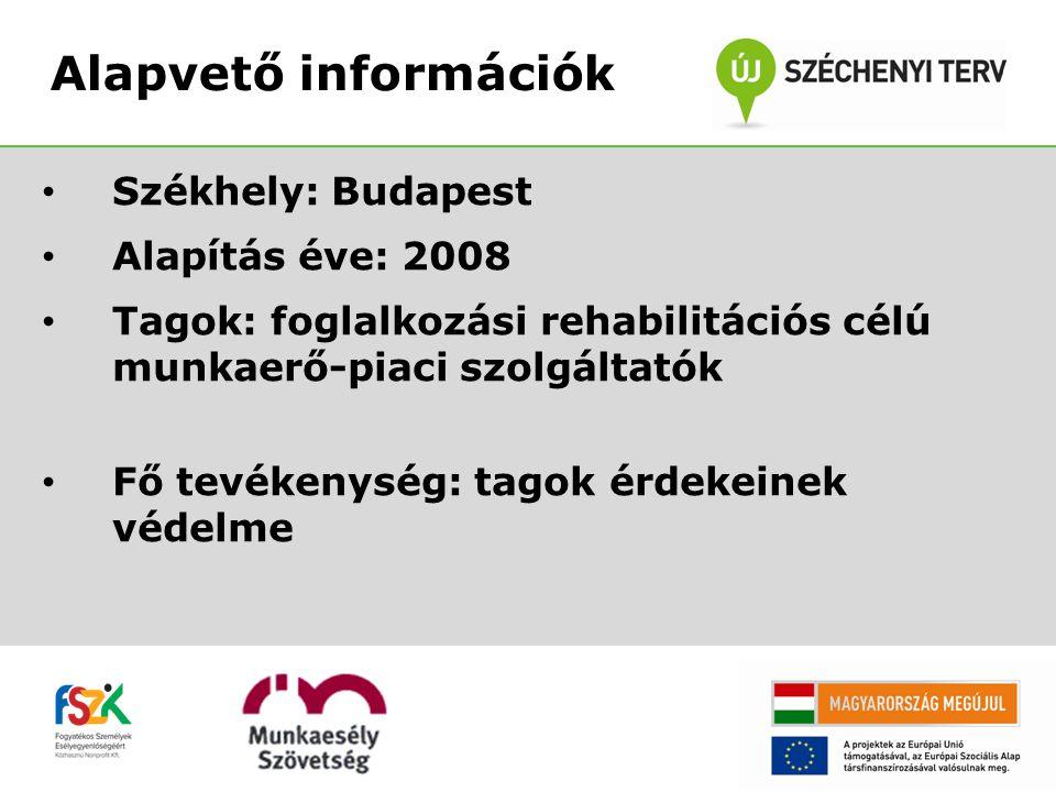Székhely: Budapest Alapítás éve: 2008 Tagok: foglalkozási rehabilitációs célú munkaerő-piaci szolgáltatók Fő tevékenység: tagok érdekeinek védelme Alapvető információk