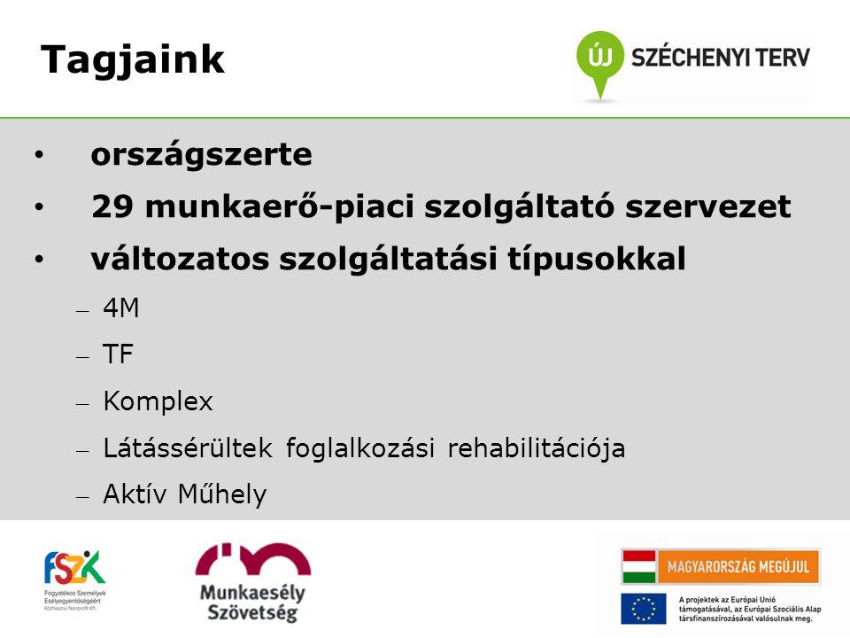 országszerte 29 munkaerő-piaci szolgáltató szervezet változatos szolgáltatási típusokkal – 4M – TF – Komplex – Látássérültek foglalkozási rehabilitációja – Aktív Műhely Tagjaink