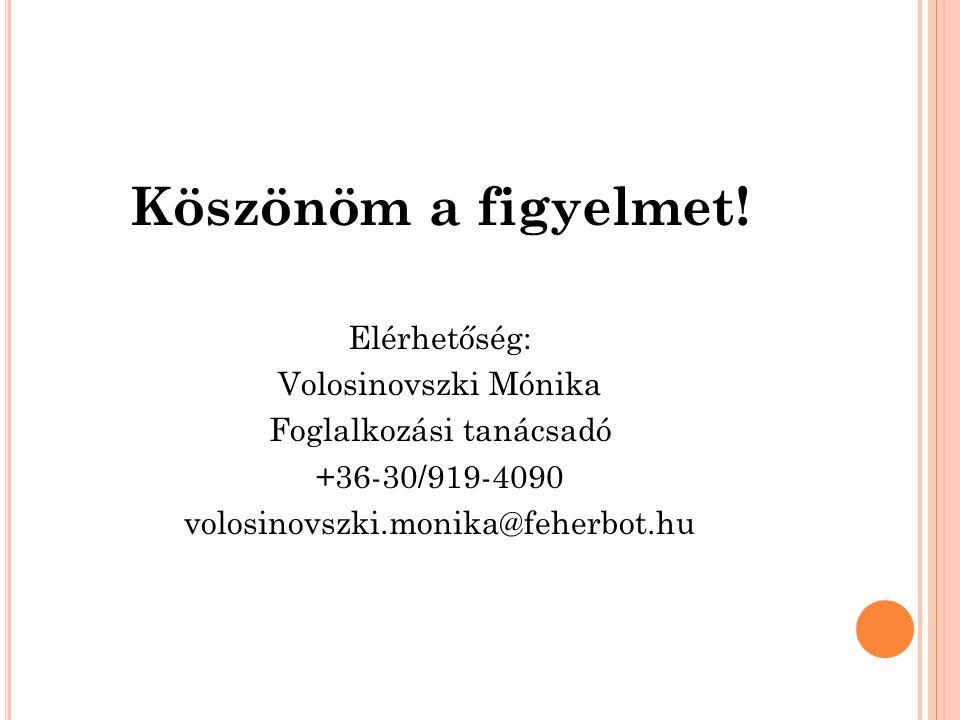 Köszönöm a figyelmet! Elérhetőség: Volosinovszki Mónika Foglalkozási tanácsadó +36-30/919-4090 volosinovszki.monika@feherbot.hu
