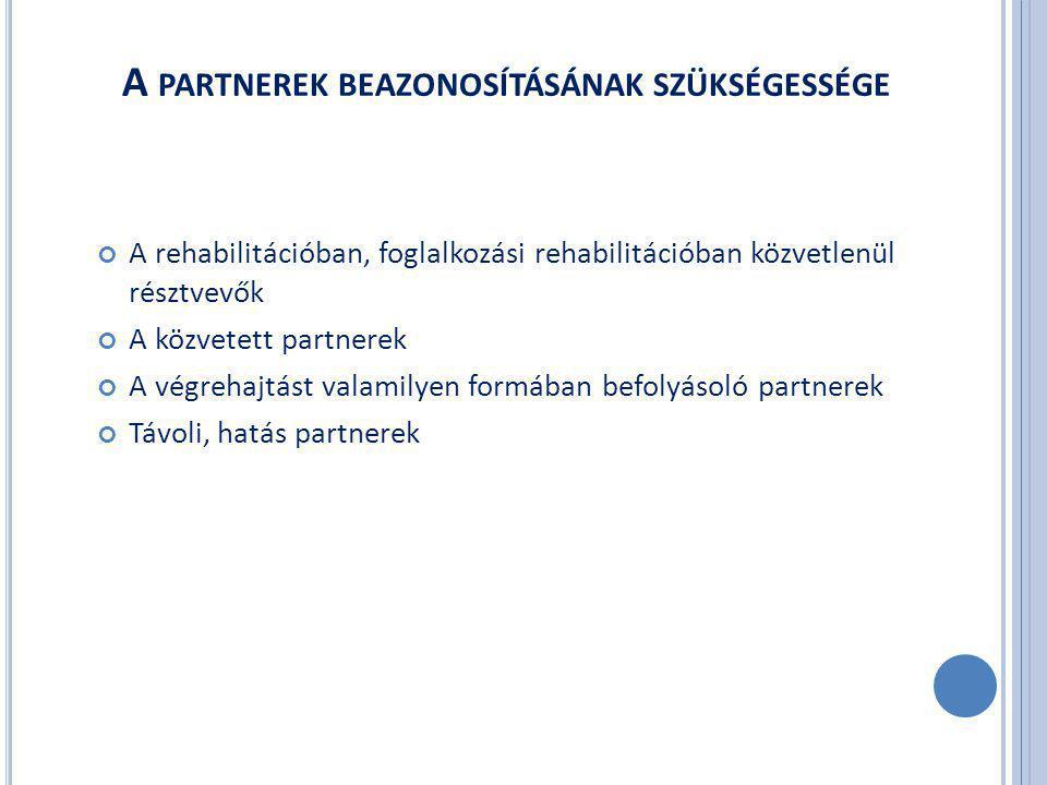 A PARTNEREK BEAZONOSÍTÁSÁNAK SZÜKSÉGESSÉGE A rehabilitációban, foglalkozási rehabilitációban közvetlenül résztvevők A közvetett partnerek A végrehajtást valamilyen formában befolyásoló partnerek Távoli, hatás partnerek