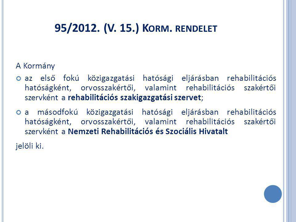 95/2012. (V. 15.) K ORM.