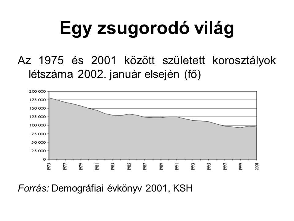 Egy zsugorodó világ Az 1975 és 2001 között született korosztályok létszáma 2002. január elsején (fő) Forrás: Demográfiai évkönyv 2001, KSH