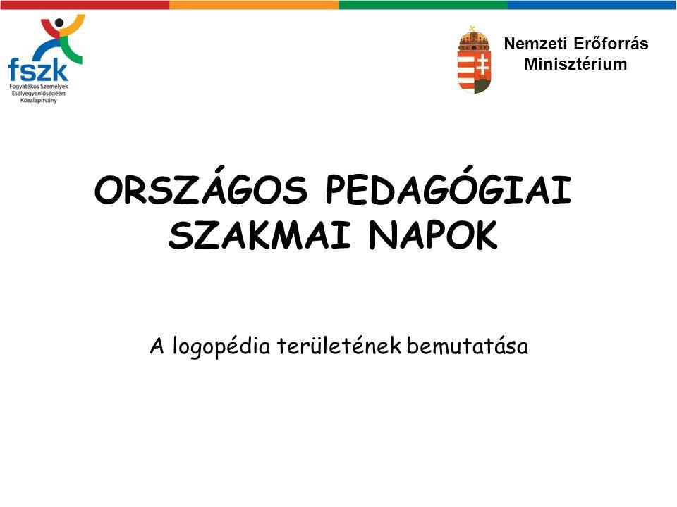 ORSZÁGOS PEDAGÓGIAI SZAKMAI NAPOK A logopédia területének bemutatása Nemzeti Erőforrás Minisztérium
