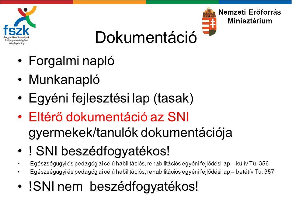 Dokumentáció Forgalmi napló Munkanapló Egyéni fejlesztési lap (tasak) Eltérő dokumentáció az SNI gyermekek/tanulók dokumentációja .