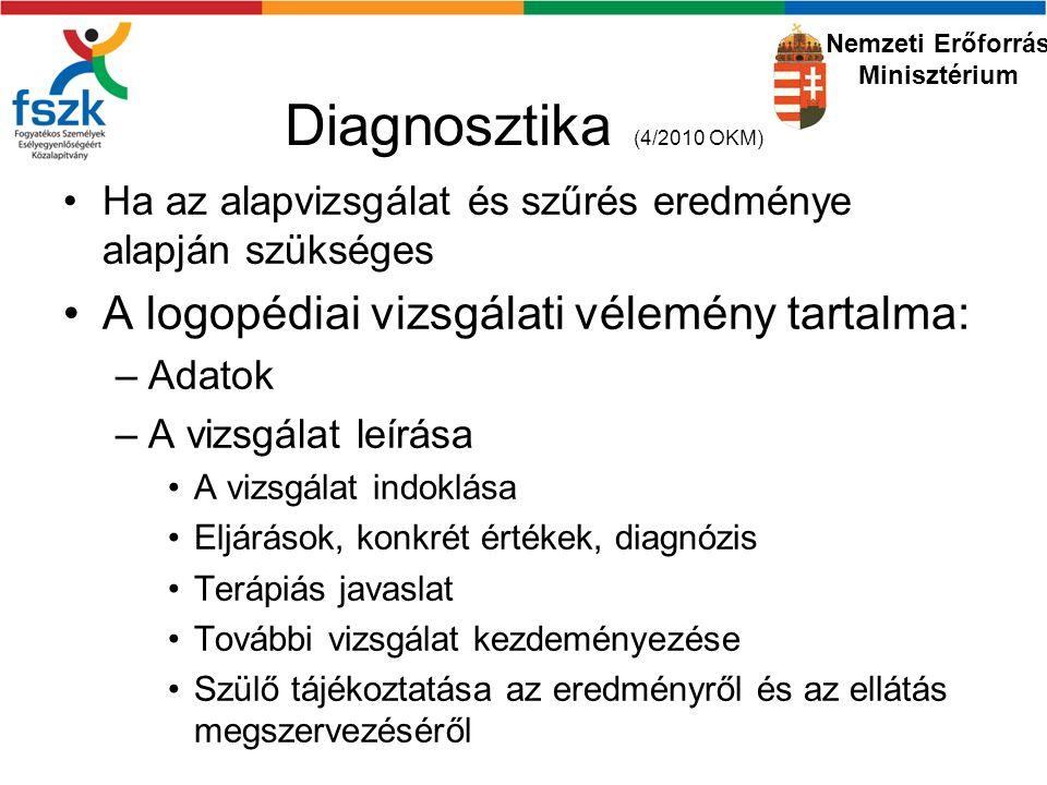 Diagnosztika (4/2010 OKM) Ha az alapvizsgálat és szűrés eredménye alapján szükséges A logopédiai vizsgálati vélemény tartalma: –Adatok –A vizsgálat leírása A vizsgálat indoklása Eljárások, konkrét értékek, diagnózis Terápiás javaslat További vizsgálat kezdeményezése Szülő tájékoztatása az eredményről és az ellátás megszervezéséről Nemzeti Erőforrás Minisztérium