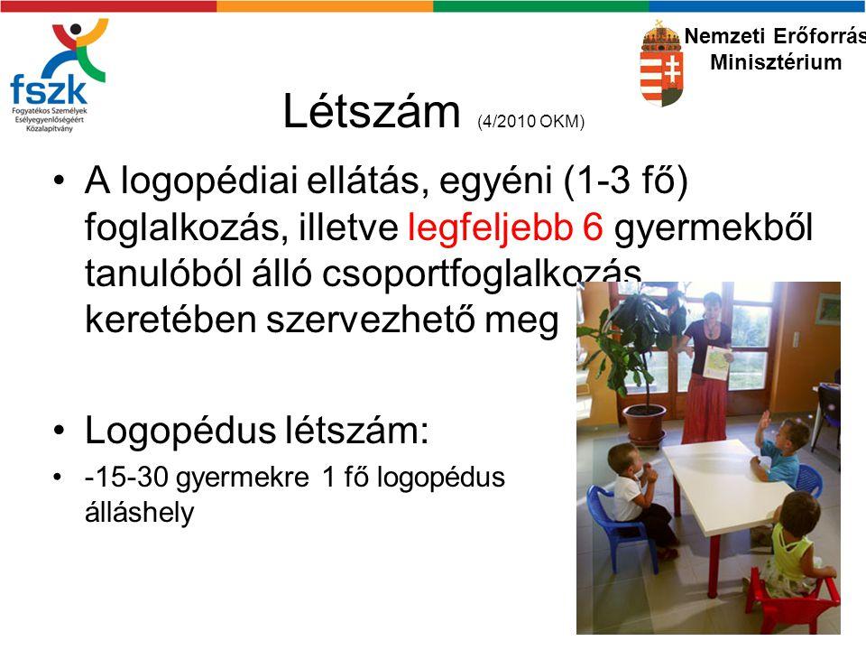 Létszám (4/2010 OKM) A logopédiai ellátás, egyéni (1-3 fő) foglalkozás, illetve legfeljebb 6 gyermekből tanulóból álló csoportfoglalkozás keretében szervezhető meg Logopédus létszám: -15-30 gyermekre 1 fő logopédus álláshely Nemzeti Erőforrás Minisztérium