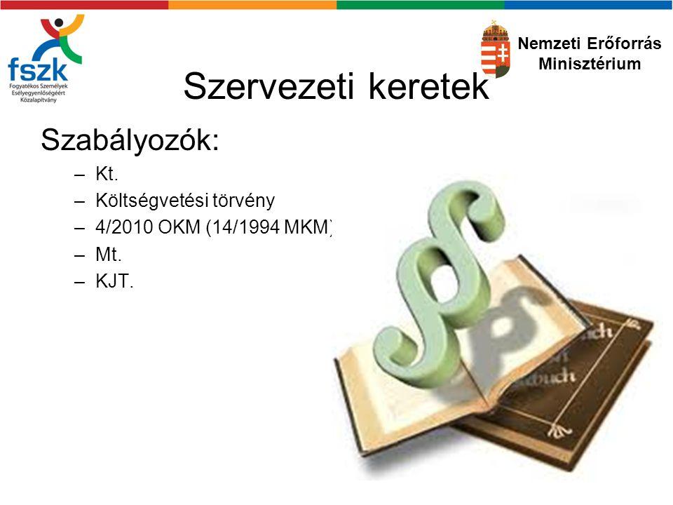 Szervezeti keretek Szabályozók: –Kt.–Költségvetési törvény –4/2010 OKM (14/1994 MKM) –Mt.