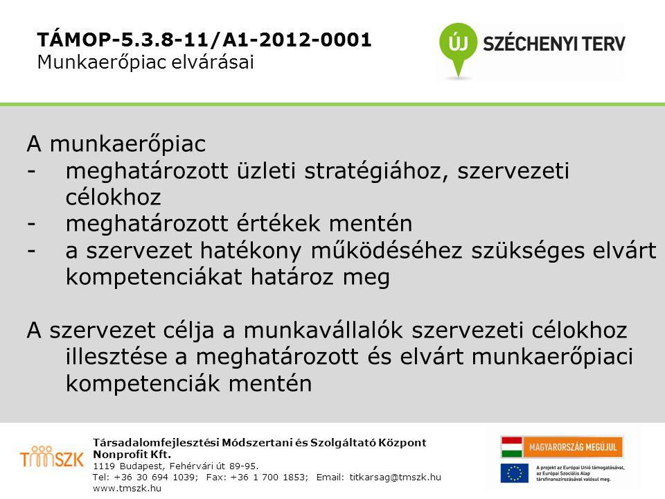 """TÁMOP-5.3.8-11/A1-2012-0001 A kompetenciamérés használata Visszajelzés a felmérésben részvevő munkavállaló számára A tudásmenedzsment portálon rögzítésre került munkakörök csoportosítása a megfelelőség – nem megfelelőség dimenziójában Azon munkakörök top-listája, melyre a munkavállaló a vizsgált kompetenciák alapján leginkább megfelelő Egy adott munkakör esetén a """"nem elégséges kompetenciák meghatározása, esetleges képzési irányok kijelölésére"""