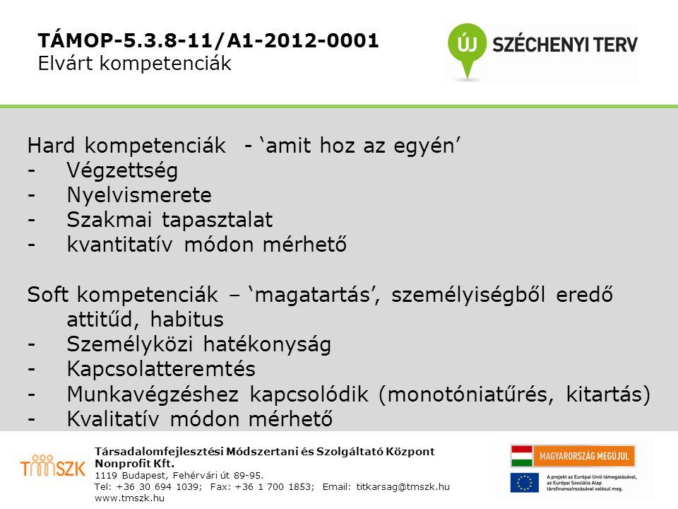 """TÁMOP-5.3.8-11/A1-2012-0001 A kompetenciamérés használata Előnyök munkaadók számára Kommunikációs felület MMK munkavállalók elérésére """"Előminősítés , így a saját rekrutáció folyamatának gyorsítása, illetve esetlegesen költségmegtakarítás"""
