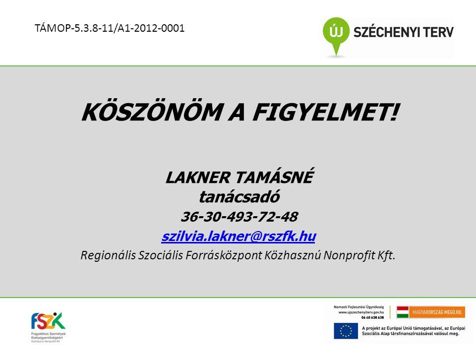 KÖSZÖNÖM A FIGYELMET! LAKNER TAMÁSNÉ tanácsadó 36-30-493-72-48 szilvia.lakner@rszfk.hu Regionális Szociális Forrásközpont Közhasznú Nonprofit Kft. TÁM