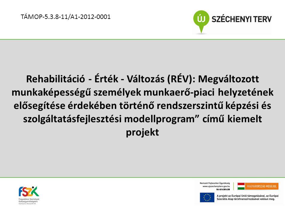 Rehabilitáció - Érték - Változás (RÉV): Megváltozott munkaképességű személyek munkaerő-piaci helyzetének elősegítése érdekében történő rendszerszintű képzési és szolgáltatásfejlesztési modellprogram című kiemelt projekt TÁMOP-5.3.8-11/A1-2012-0001