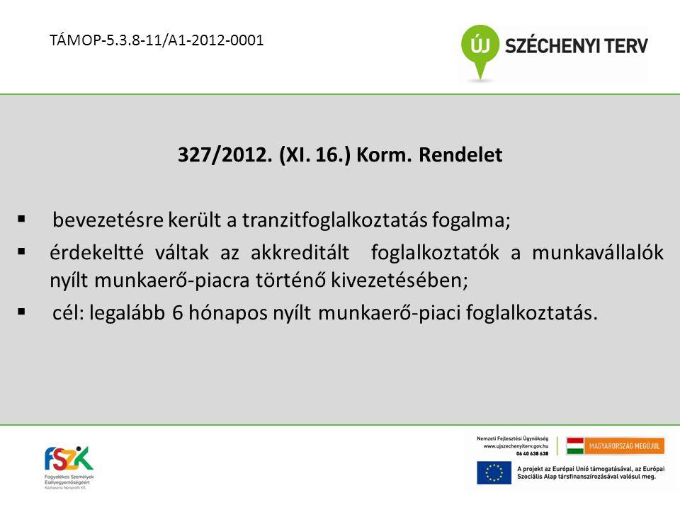 327/2012. (XI. 16.) Korm. Rendelet  bevezetésre került a tranzitfoglalkoztatás fogalma;  érdekeltté váltak az akkreditált foglalkoztatók a munkaváll