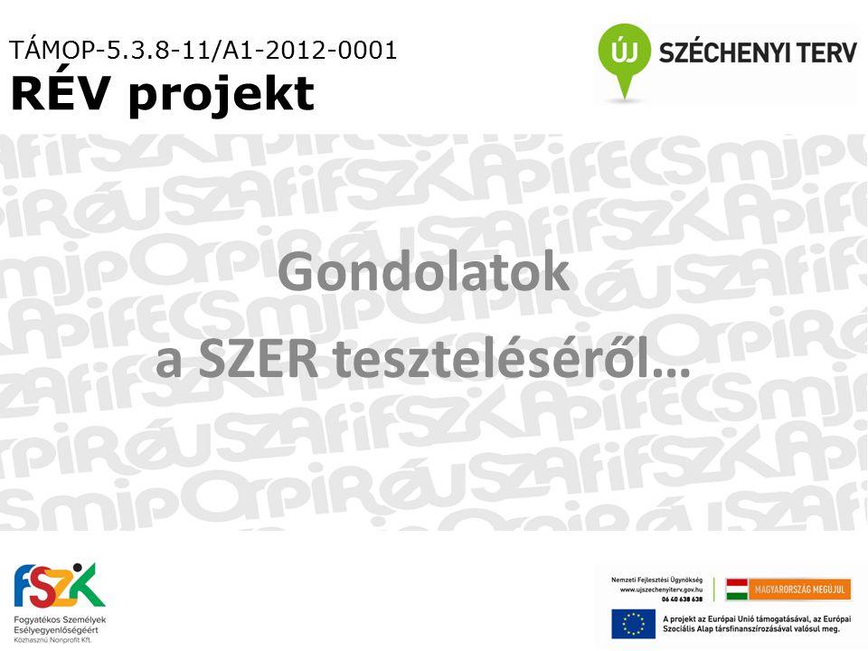 TÁMOP-5.3.8-11/A1-2012-0001 RÉV projekt Gondolatok a SZER teszteléséről…
