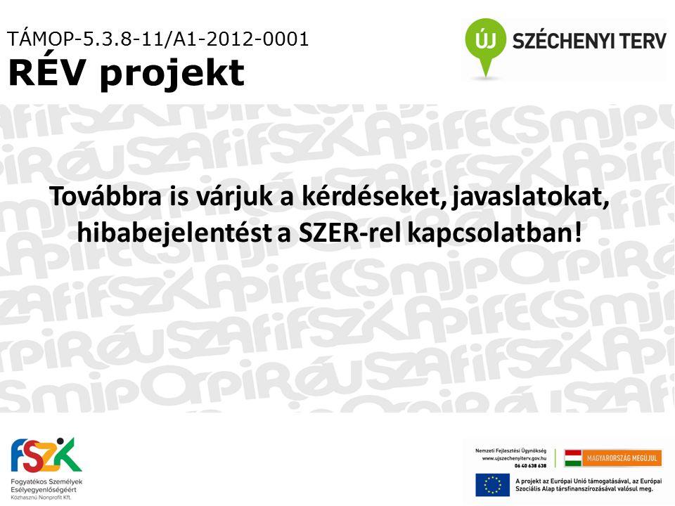 TÁMOP-5.3.8-11/A1-2012-0001 RÉV projekt Továbbra is várjuk a kérdéseket, javaslatokat, hibabejelentést a SZER-rel kapcsolatban!