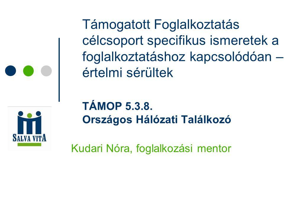 Támogatott Foglalkoztatás célcsoport specifikus ismeretek a foglalkoztatáshoz kapcsolódóan – értelmi sérültek TÁMOP 5.3.8. Országos Hálózati Találkozó