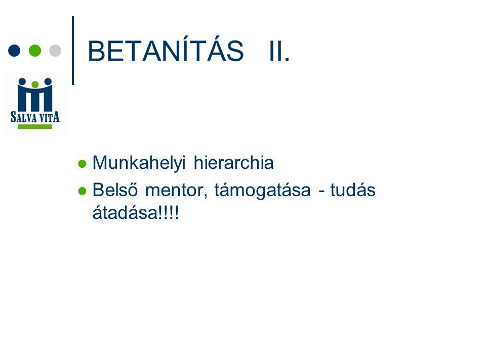 BETANÍTÁS II. Munkahelyi hierarchia Belső mentor, támogatása - tudás átadása!!!!