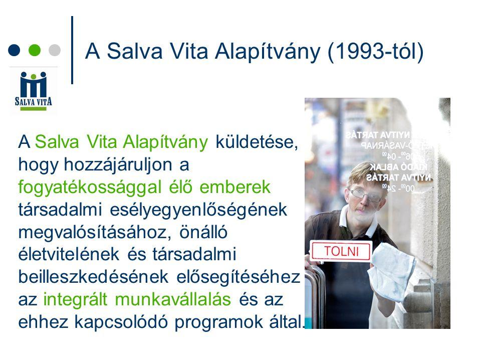 A Salva Vita Alapítvány (1993-tól) A Salva Vita Alapítvány küldetése, hogy hozzájáruljon a fogyatékossággal élő emberek társadalmi esélyegyenlőségének megvalósításához, önálló életvitelének és társadalmi beilleszkedésének elősegítéséhez az integrált munkavállalás és az ehhez kapcsolódó programok által.
