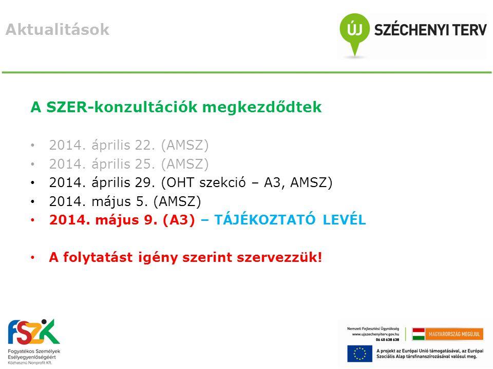 A SZER-konzultációk megkezdődtek 2014. április 22.