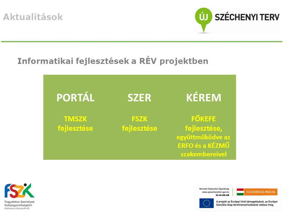 Aktualitások Informatikai fejlesztések a RÉV projektben PORTÁL TMSZK fejlesztése SZER FSZK fejlesztése KÉREM FŐKEFE fejlesztése, együttműködve az ERFO és a KÉZMŰ szakembereivel