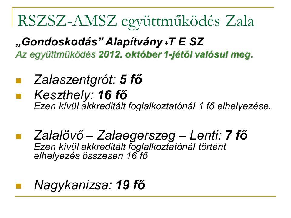 """RSZSZ-AMSZ együttműködés Zala """"Gondoskodás Alapítvány + T E SZ Az együttműködés 2012."""