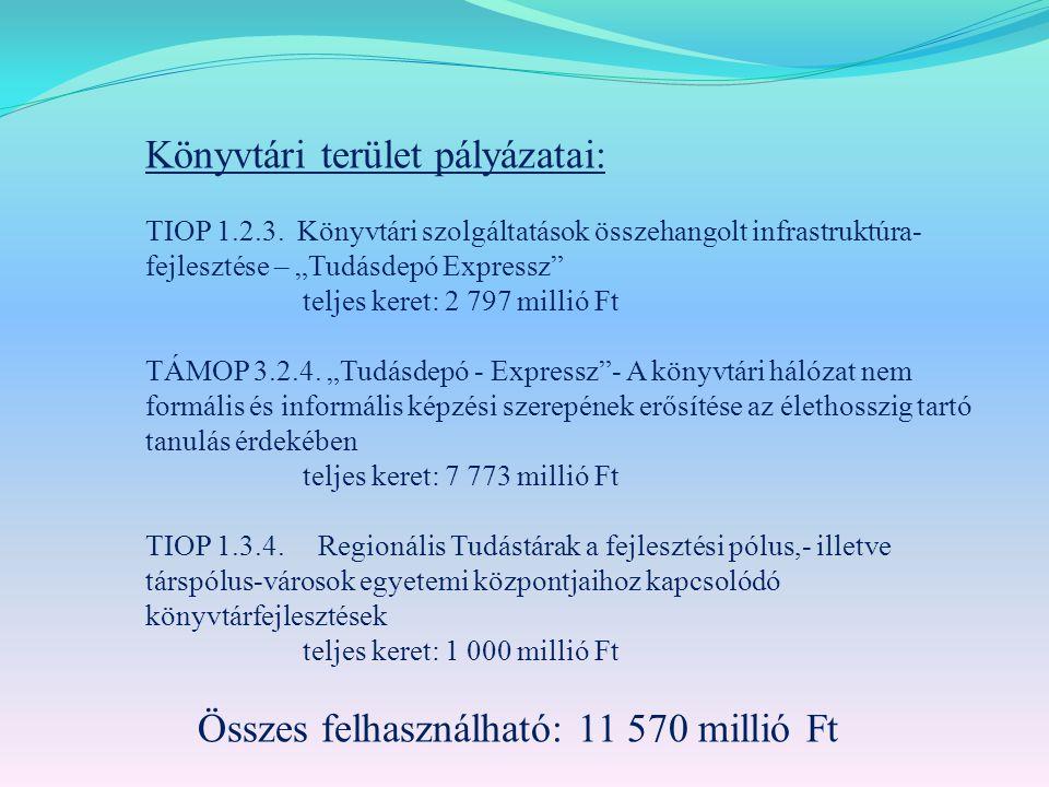 Könyvtári terület pályázatai: TIOP 1.2.3.