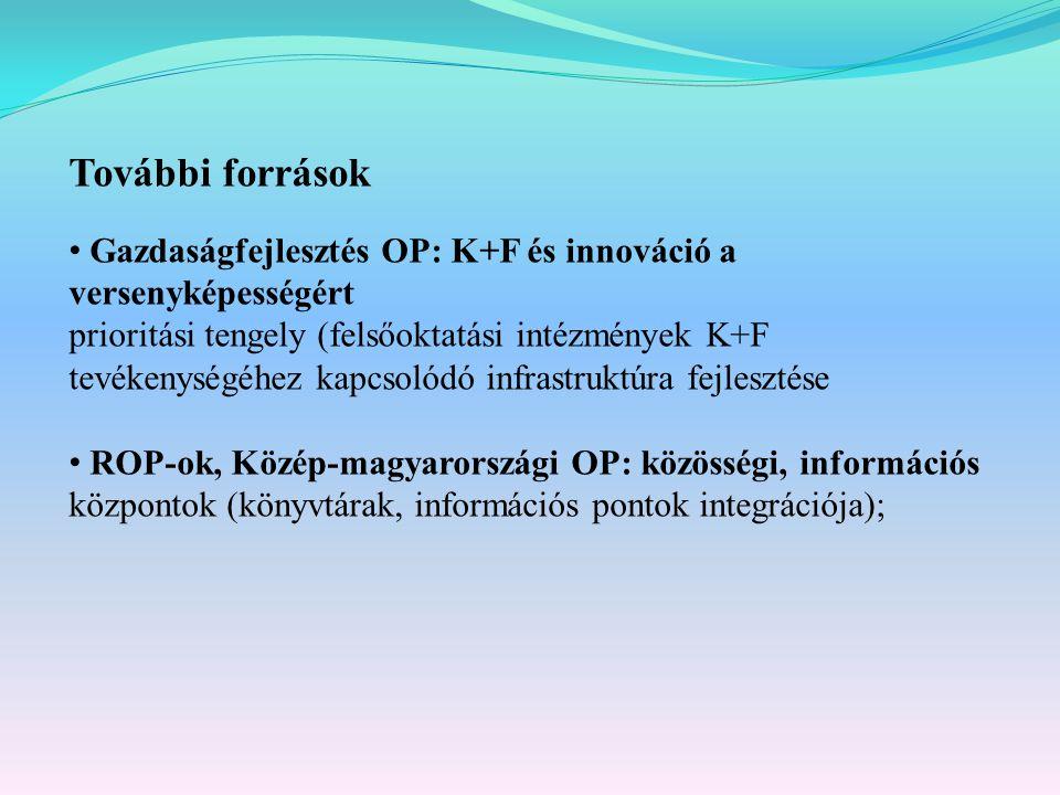 További források Gazdaságfejlesztés OP: K+F és innováció a versenyképességért prioritási tengely (felsőoktatási intézmények K+F tevékenységéhez kapcsolódó infrastruktúra fejlesztése ROP-ok, Közép-magyarországi OP: közösségi, információs központok (könyvtárak, információs pontok integrációja);