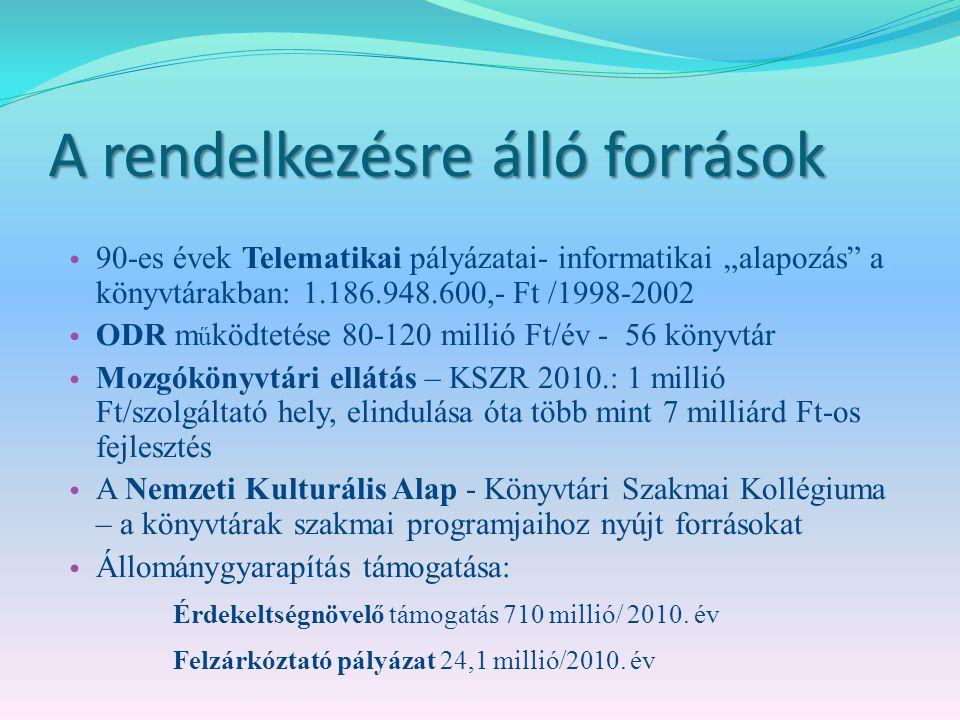 """A rendelkezésre álló források 90-es évek Telematikai pályázatai- informatikai """"alapozás a könyvtárakban: 1.186.948.600,- Ft /1998-2002 ODR m ű ködtetése 80-120 millió Ft/év - 56 könyvtár Mozgókönyvtári ellátás – KSZR 2010.: 1 millió Ft/szolgáltató hely, elindulása óta több mint 7 milliárd Ft-os fejlesztés A Nemzeti Kulturális Alap - Könyvtári Szakmai Kollégiuma – a könyvtárak szakmai programjaihoz nyújt forrásokat Állománygyarapítás támogatása: Érdekeltségnövelő támogatás 710 millió/ 2010."""