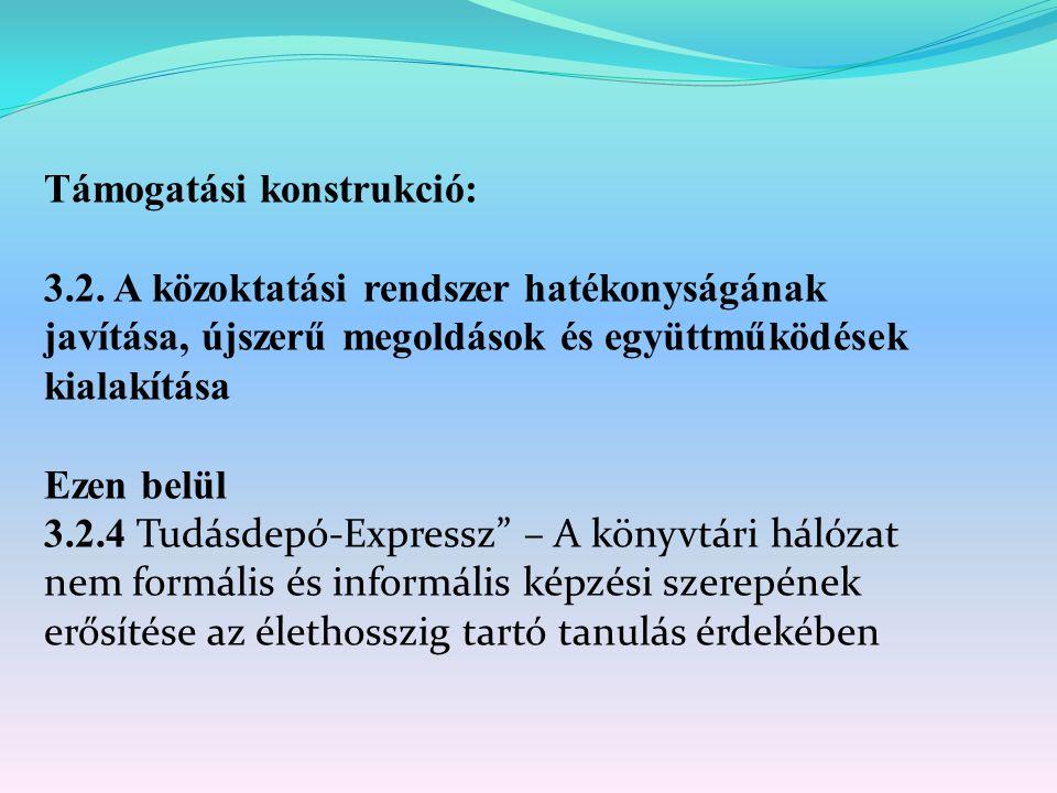 Támogatási konstrukció: 3.2. A közoktatási rendszer hatékonyságának javítása, újszerű megoldások és együttműködések kialakítása Ezen belül 3.2.4 Tudás