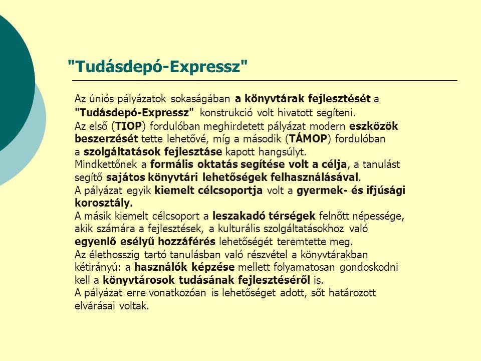 Tudásdepó-Expressz Az úniós pályázatok sokaságában a könyvtárak fejlesztését a Tudásdepó-Expressz konstrukció volt hivatott segíteni.