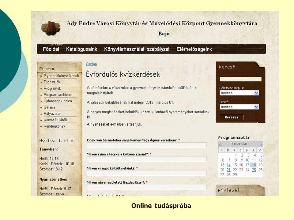 Online tudáspróba
