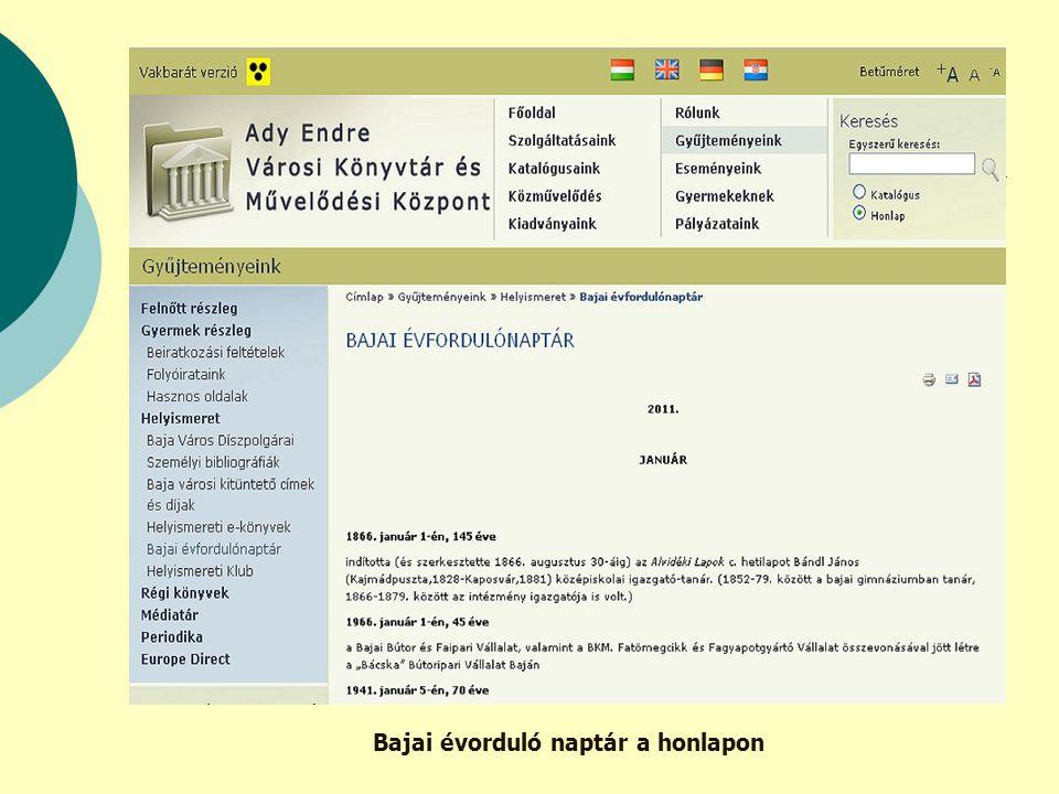 Bajai évorduló naptár a honlapon
