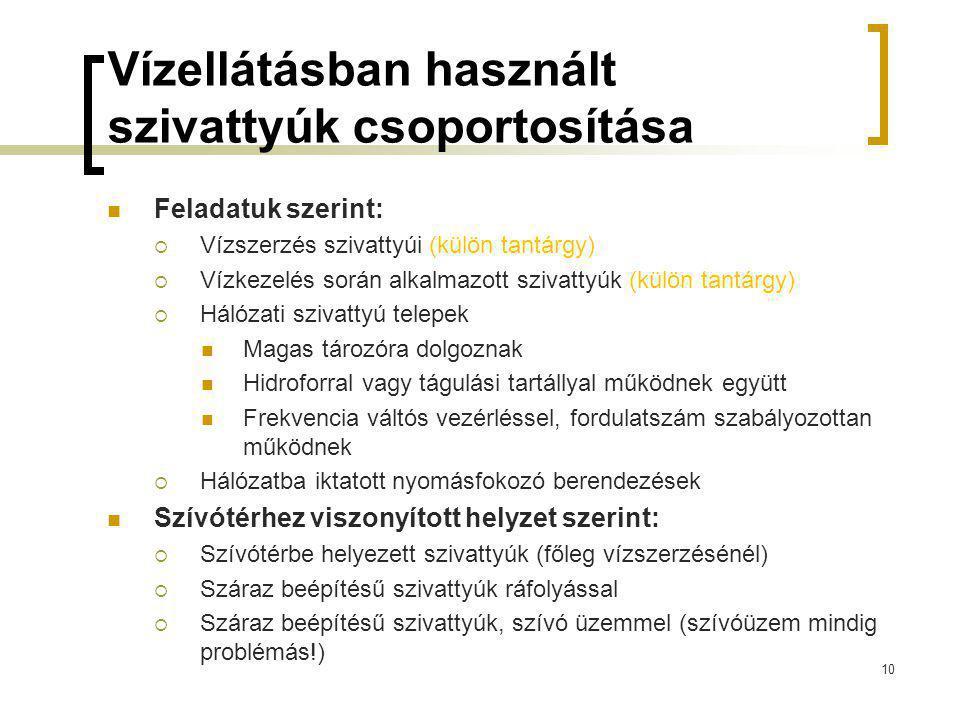 Vízellátásban használt szivattyúk csoportosítása Feladatuk szerint:  Vízszerzés szivattyúi (külön tantárgy)  Vízkezelés során alkalmazott szivattyúk