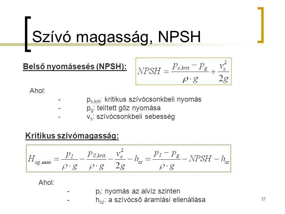 Szívó magasság, NPSH 27 Belső nyomásesés (NPSH): Ahol: -p s,krit : kritikus szívócsonkbeli nyomás -p g : telített gőz nyomása -v s : szívócsonkbeli se