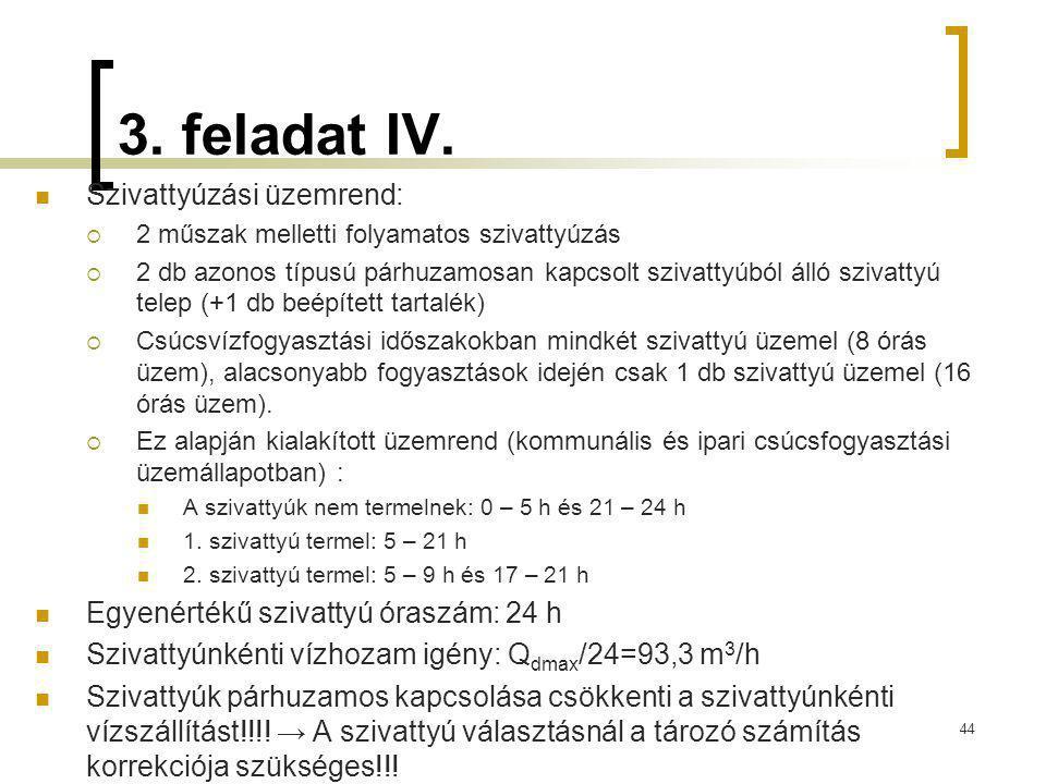 3. feladat IV. Szivattyúzási üzemrend:  2 műszak melletti folyamatos szivattyúzás  2 db azonos típusú párhuzamosan kapcsolt szivattyúból álló szivat