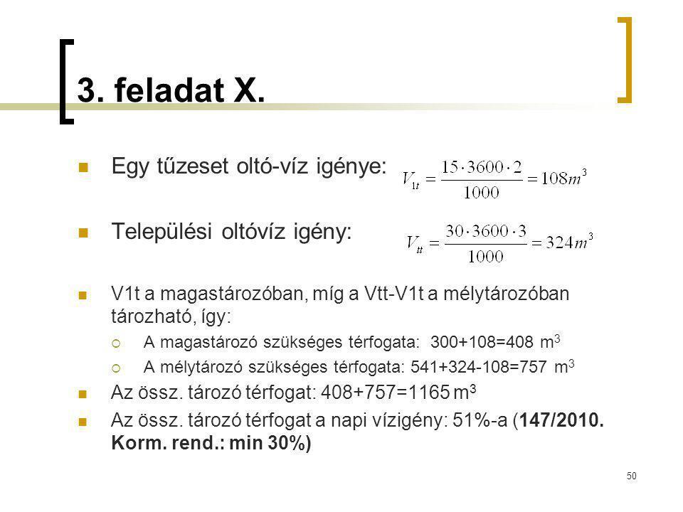 3. feladat X. Egy tűzeset oltó-víz igénye: Települési oltóvíz igény: V1t a magastározóban, míg a Vtt-V1t a mélytározóban tározható, így:  A magastáro