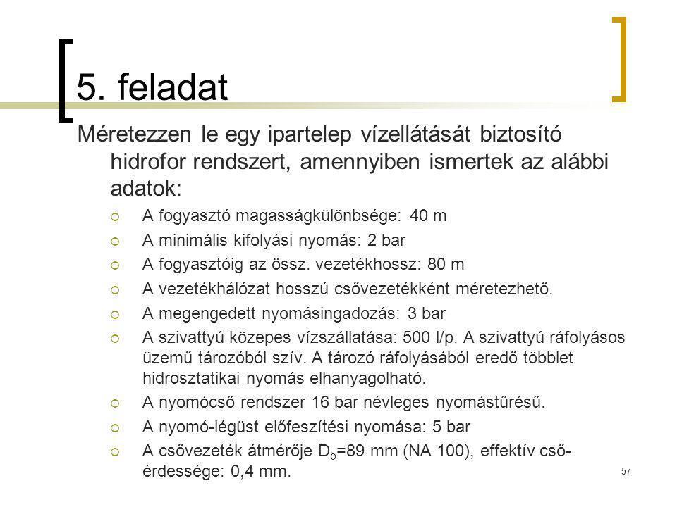 5. feladat Méretezzen le egy ipartelep vízellátását biztosító hidrofor rendszert, amennyiben ismertek az alábbi adatok:  A fogyasztó magasságkülönbsé