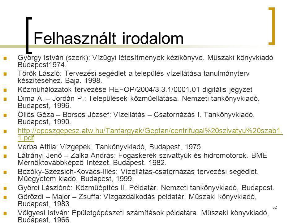 62 Felhasznált irodalom György István (szerk): Vízügyi létesítmények kézikönyve. Műszaki könyvkiadó Budapest1974. Török László: Tervezési segédlet a t