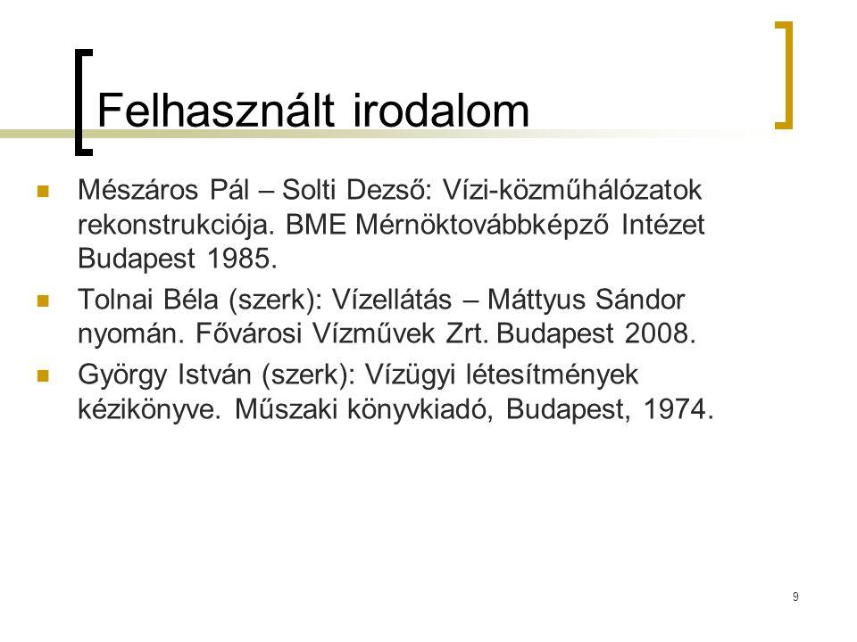 9 Felhasznált irodalom Mészáros Pál – Solti Dezső: Vízi-közműhálózatok rekonstrukciója.