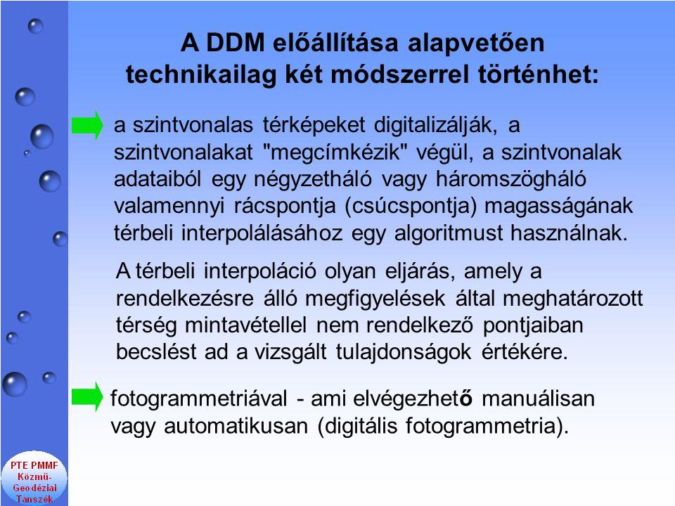 A DDM előállítása alapvetően technikailag két módszerrel történhet: a szintvonalas térképeket digitalizálják, a szintvonalakat