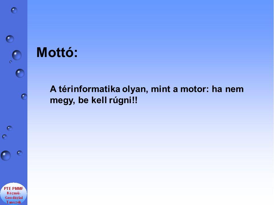 Mottó: A térinformatika olyan, mint a motor: ha nem megy, be kell rúgni!!
