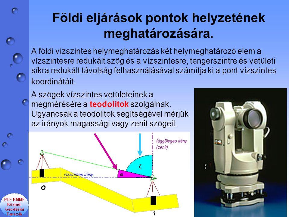Földi eljárások pontok helyzetének meghatározására. A földi vízszintes helymeghatározás két helymeghatározó elem a vízszintesre redukált szög és a víz