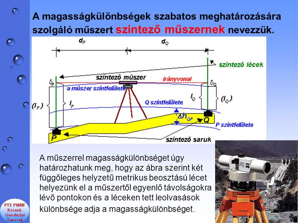 A magasságkülönbségek szabatos meghatározására szolgáló műszert szintező műszernek nevezzük. A műszerrel magasságkülönbséget úgy határozhatunk meg, ho
