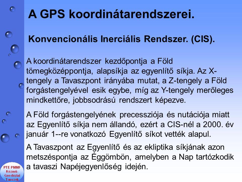 Konvencionális Inerciális Rendszer. (CIS). A GPS koordinátarendszerei. A Tavaszpont az Egyenlítő és az ekliptika síkjának azon metszéspontja az Éggömb