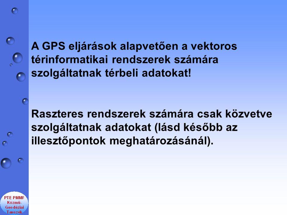 A GPS eljárások alapvetően a vektoros térinformatikai rendszerek számára szolgáltatnak térbeli adatokat! Raszteres rendszerek számára csak közvetve sz
