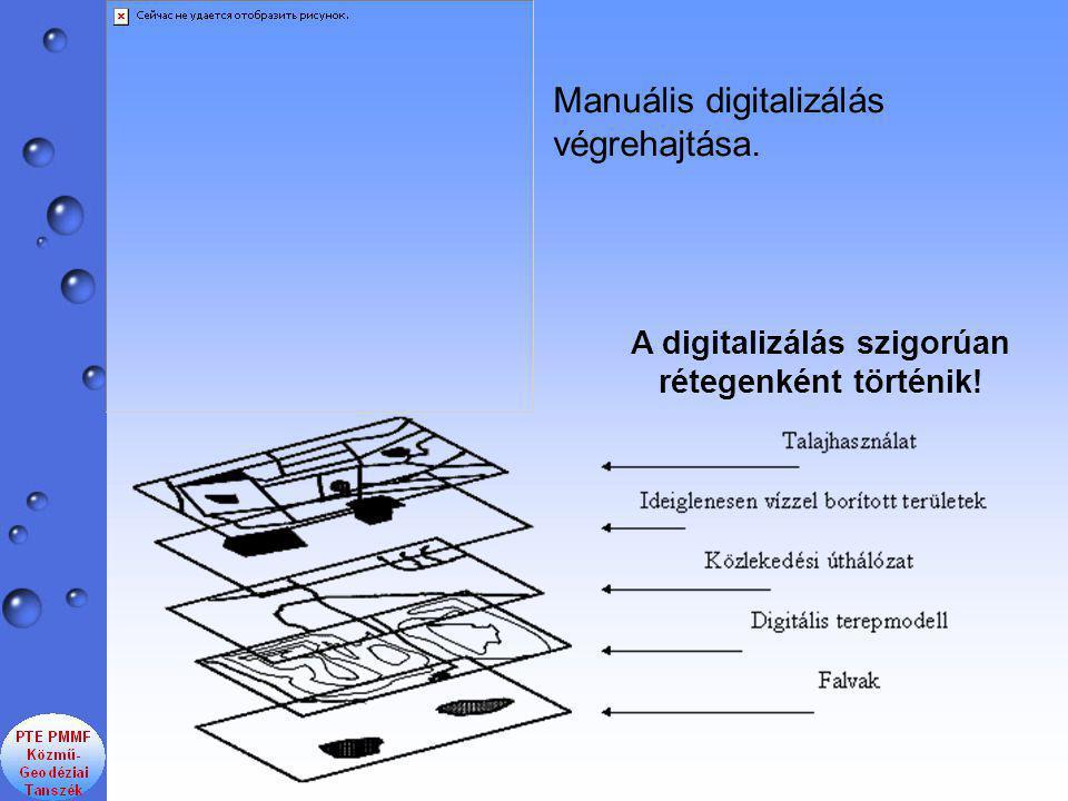 Manuális digitalizálás végrehajtása. A digitalizálás szigorúan rétegenként történik!