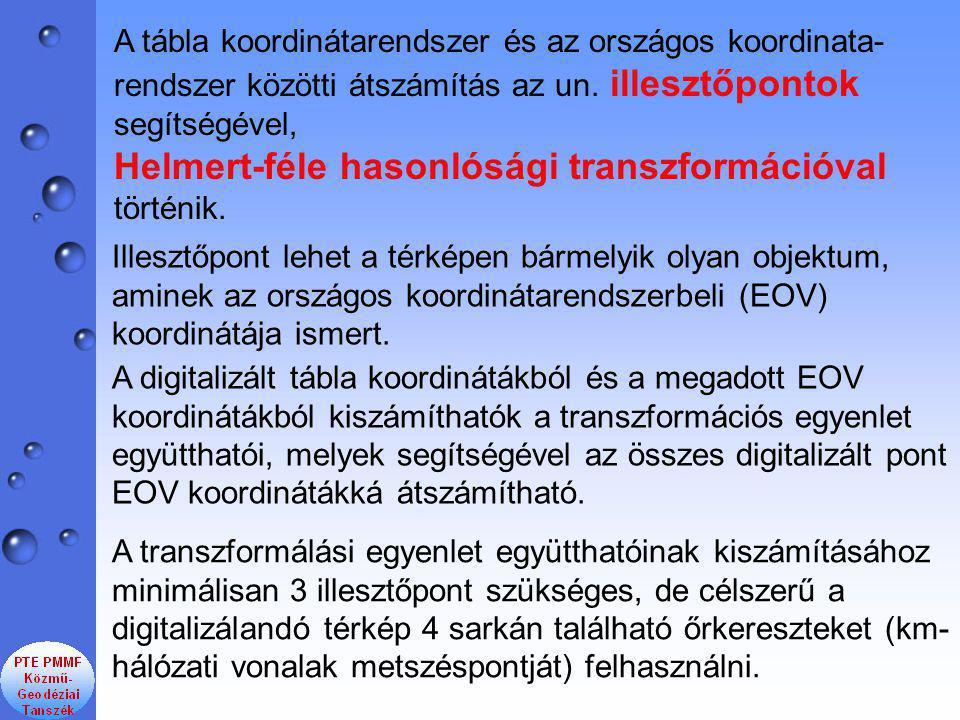 A tábla koordinátarendszer és az országos koordinata- rendszer közötti átszámítás az un.