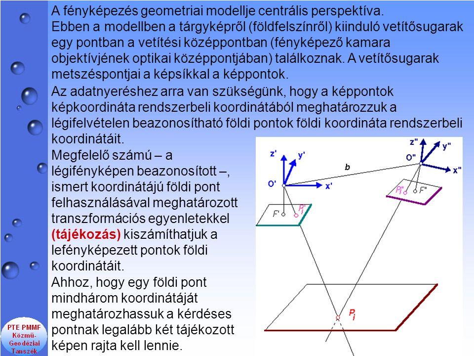 A fényképezés geometriai modellje centrális perspektíva. Ebben a modellben a tárgyképről (földfelszínről) kiinduló vetítősugarak egy pontban a vetítés
