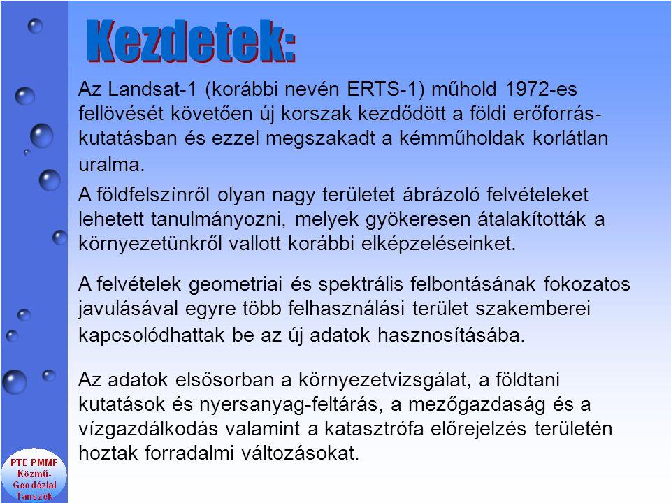 Az Landsat-1 (korábbi nevén ERTS-1) műhold 1972-es fellövését követően új korszak kezdődött a földi erőforrás- kutatásban és ezzel megszakadt a kémműh