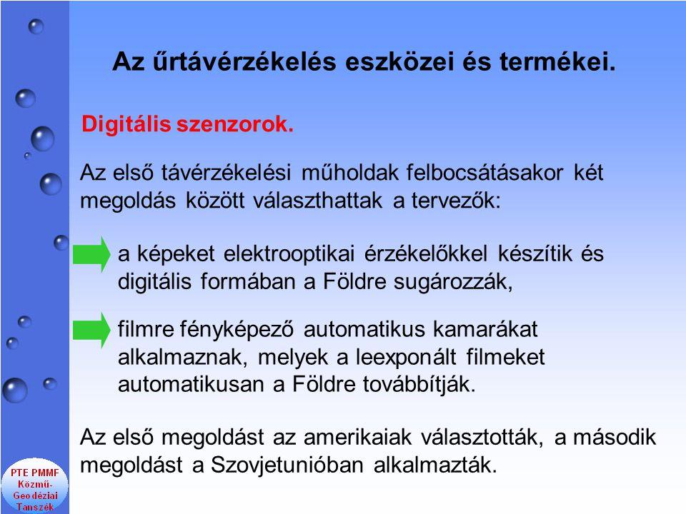 Digitális szenzorok. Az első megoldást az amerikaiak választották, a második megoldást a Szovjetunióban alkalmazták. filmre fényképező automatikus kam